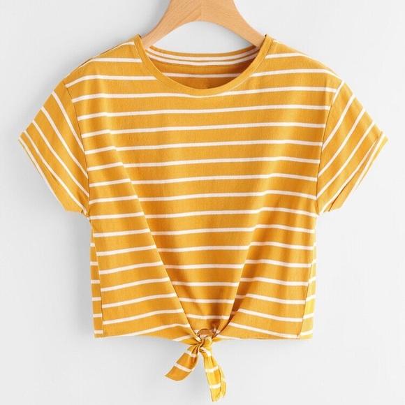 SHEIN Tops - Yellow & white t-shirt